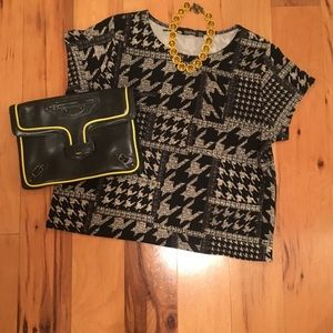 Boohoo Houndstooth Type Print T-shirt